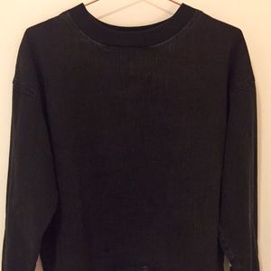 Zara Premium Denim Black Ruffle Sweater